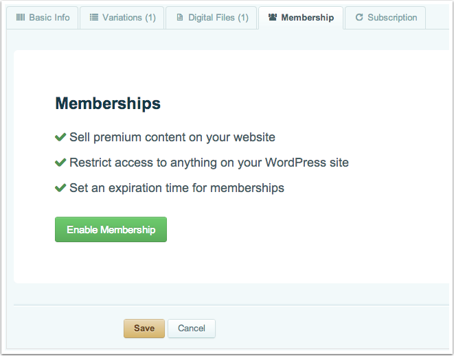 Creating a Membership Product