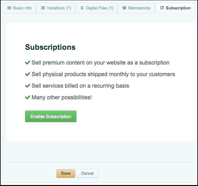 Creating a Membership Product