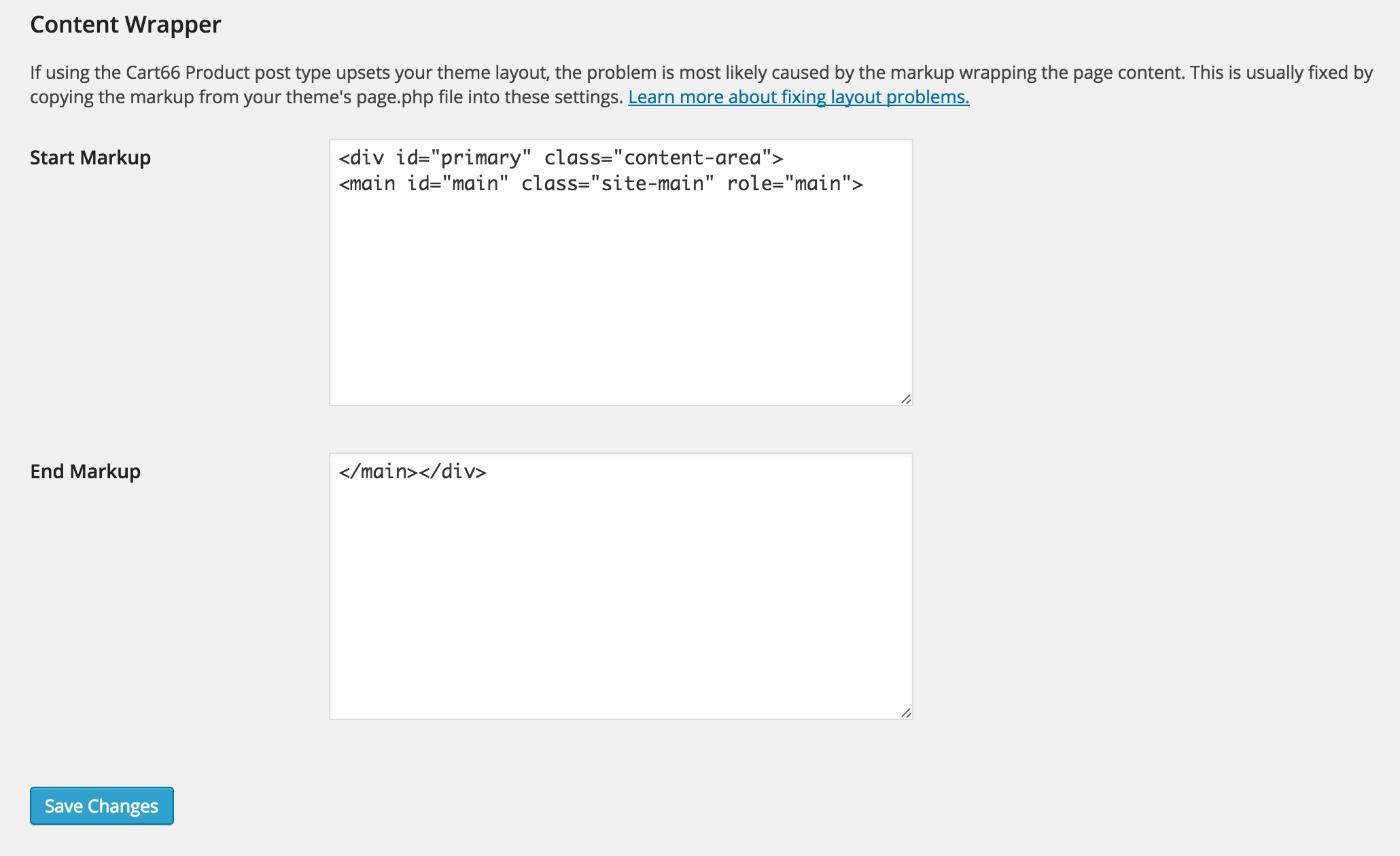 Cart66 WordPress admin content wrapper settings