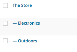 WordPress menu showing product categories