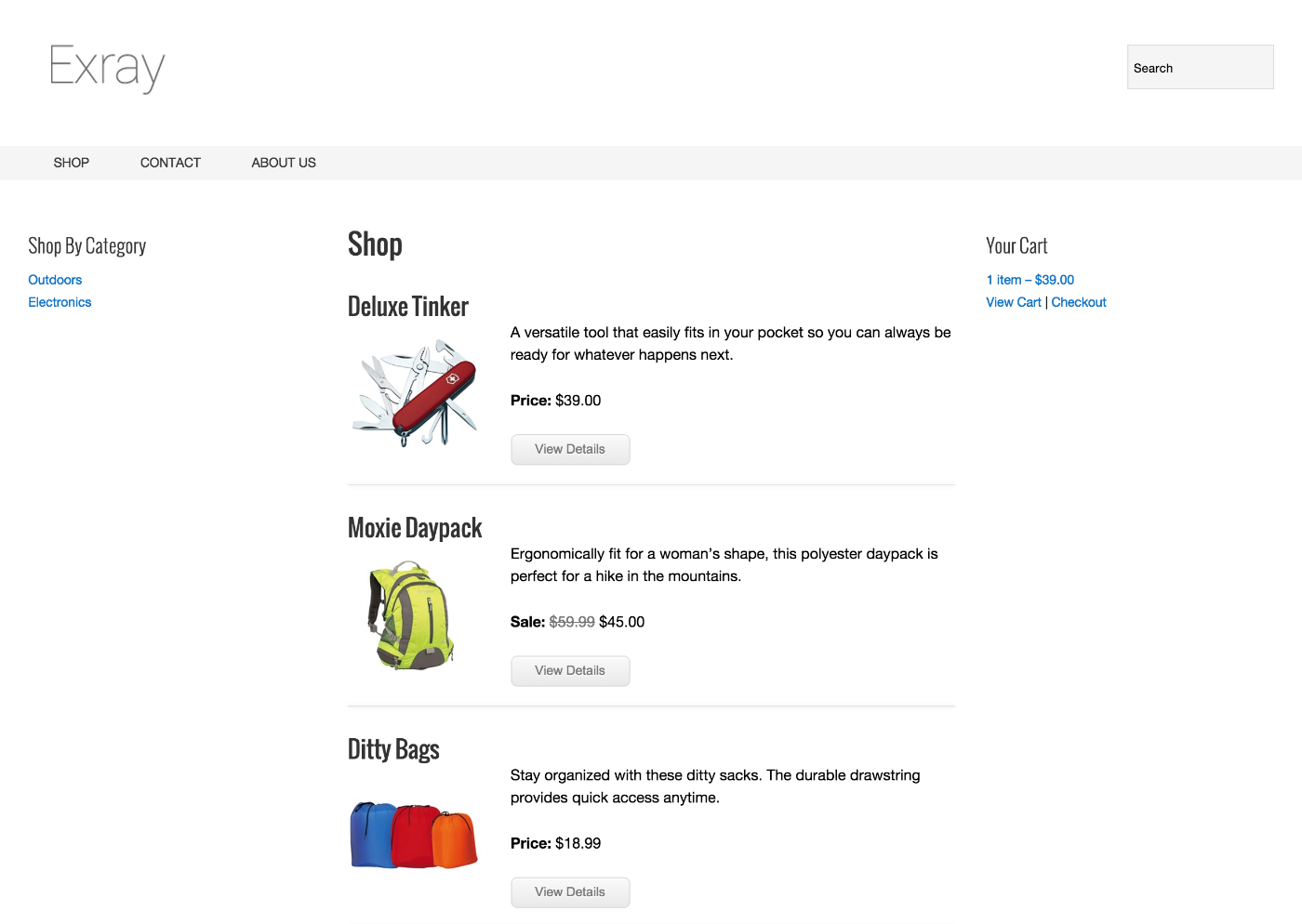 Cart66 product catalog in Exray theme