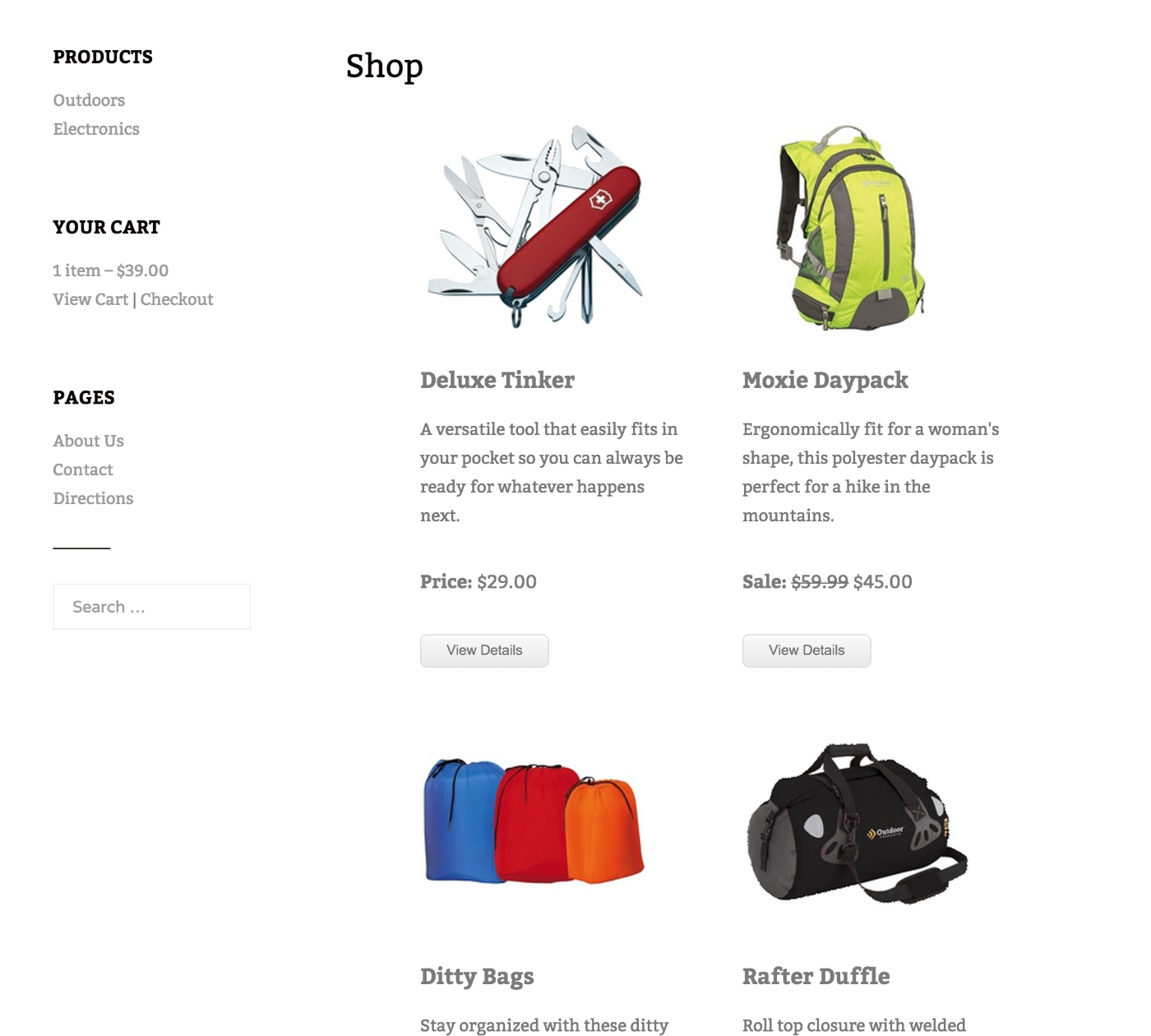 Cart66 product catalog in TwentyFifteen theme