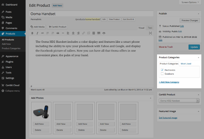 Setting Cart66 product category in WordPress page editor
