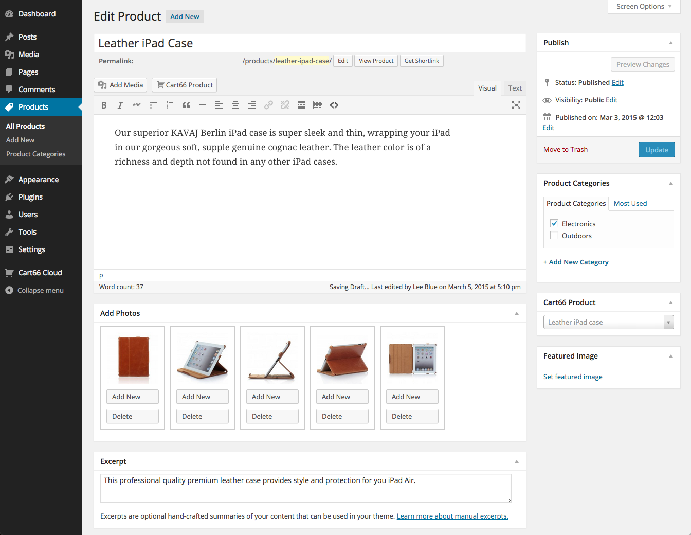 Cart66 product gallery in WordPress page editor