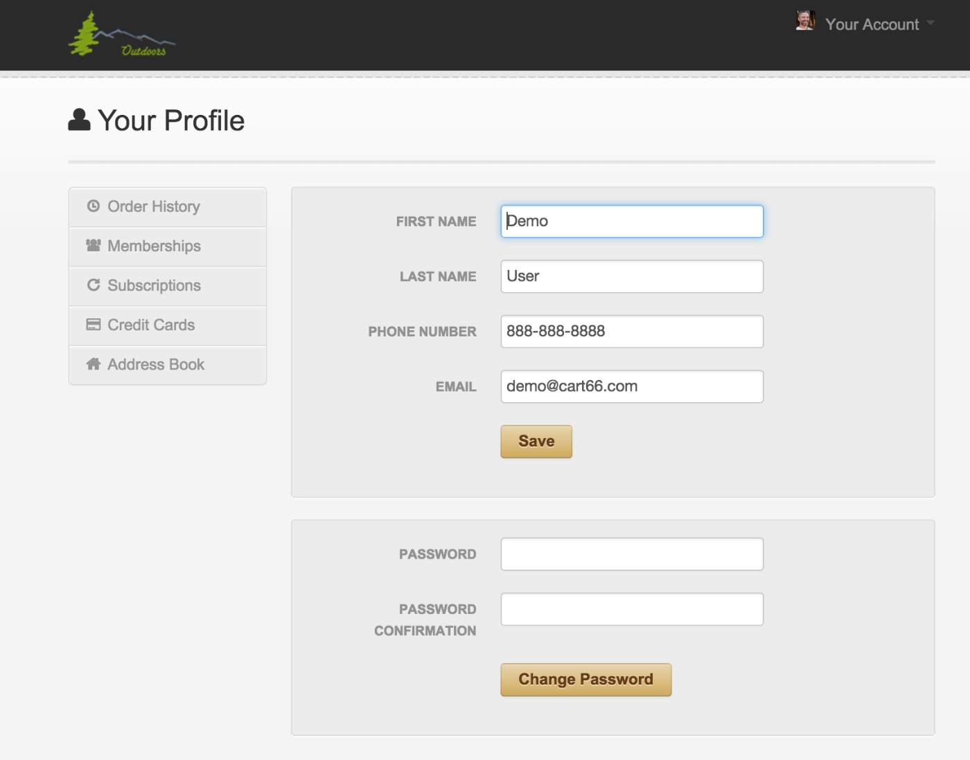 Cart66 customer portal secure profile